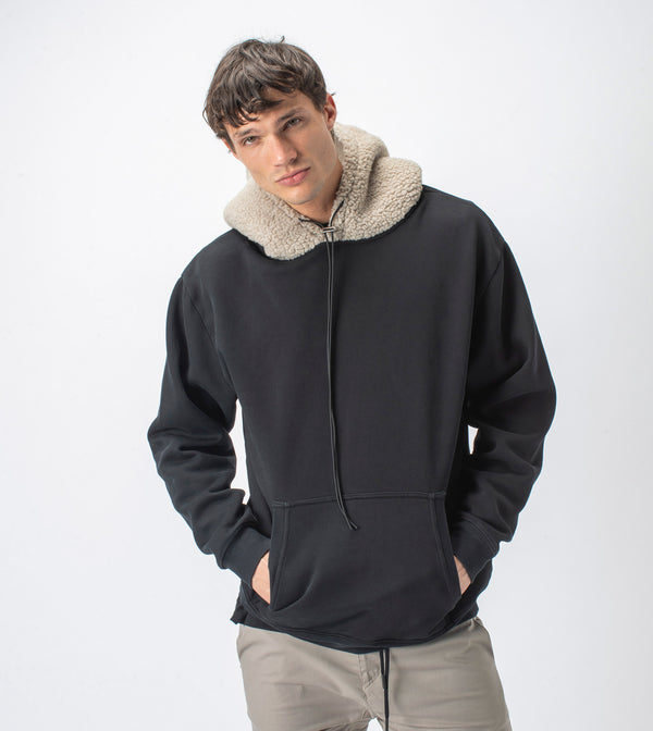 Shearling Hood Sweat Smokey Black/Timber - Sale