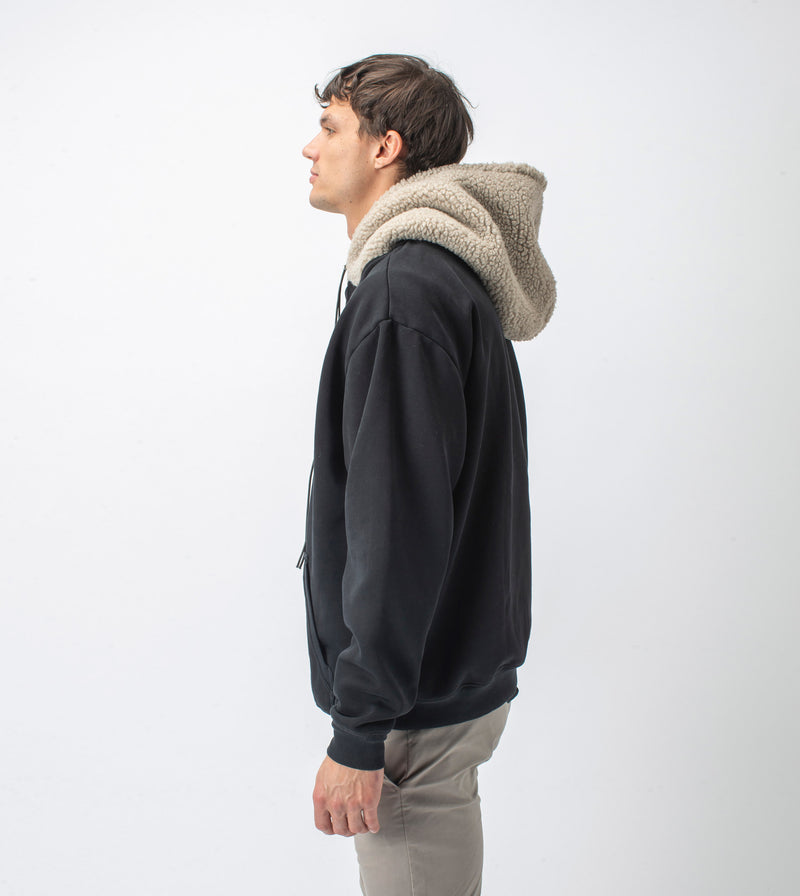 Shearling Hood Sweat Smokey Black/Timber