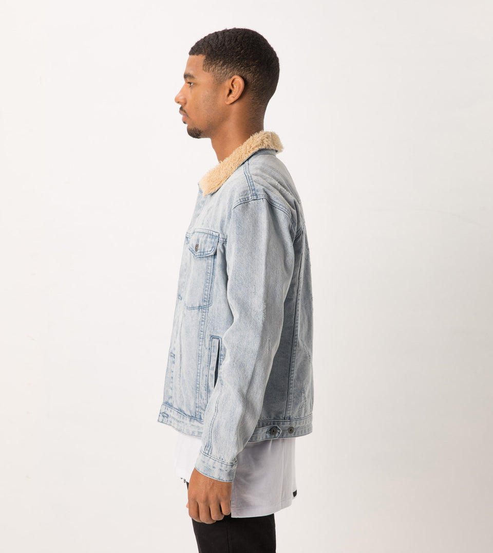 Sherpa Denim Jacket Arctic Wash - Sale