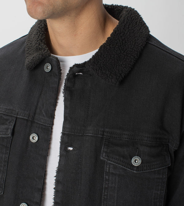 Sherpa Denim Jacket Black
