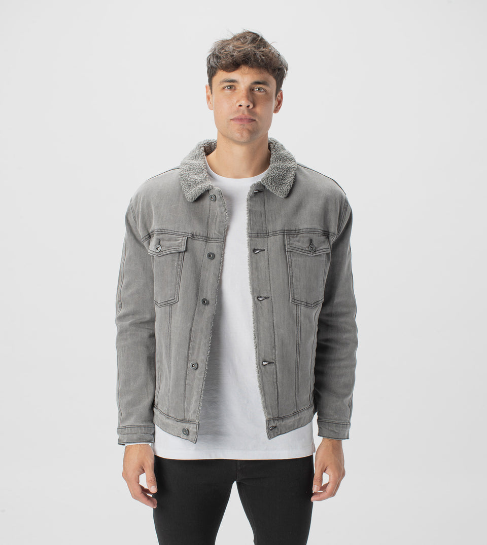 Sherpa Denim Jacket Grey