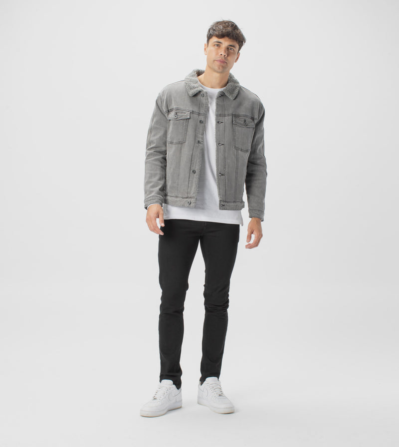 Sherpa Denim Jacket Grey - Sale