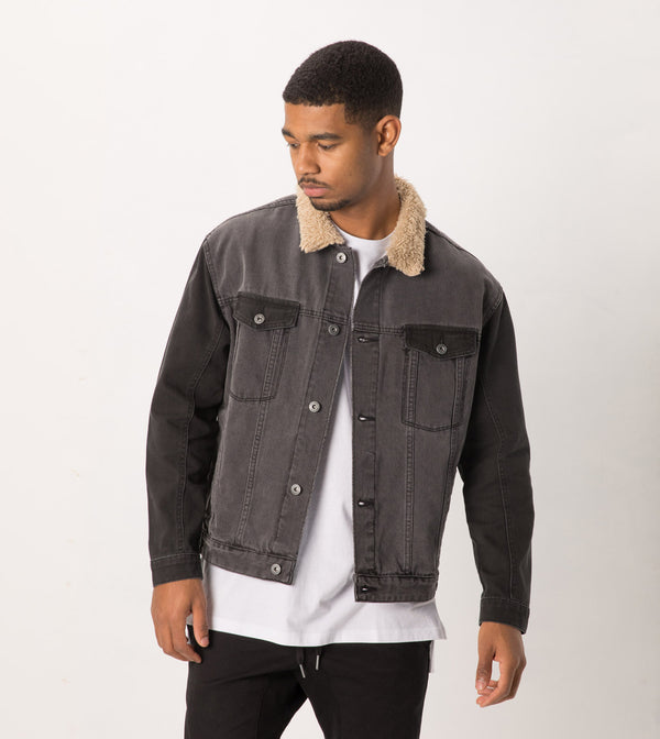 Sherpa Denim Jacket Milled Black - Sale