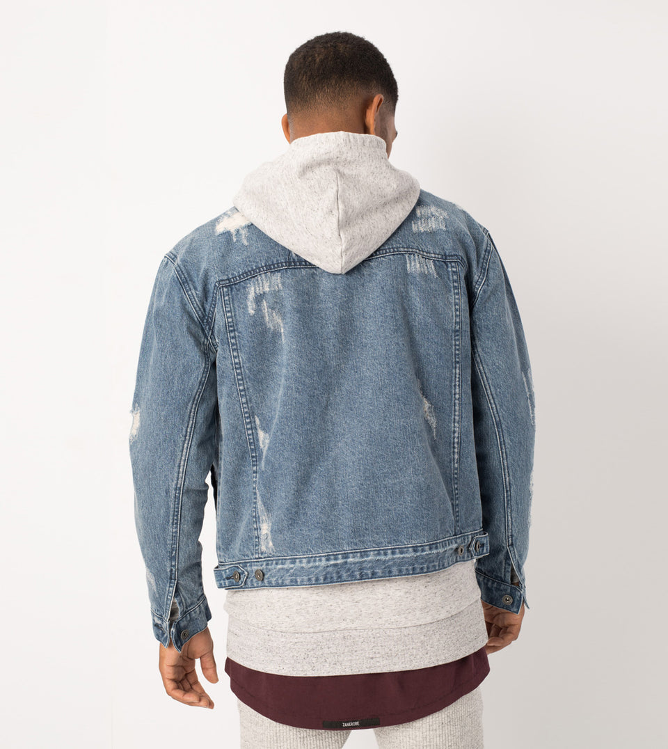 Shred Snitch Denim Jacket Blow-Out Blue - Sale