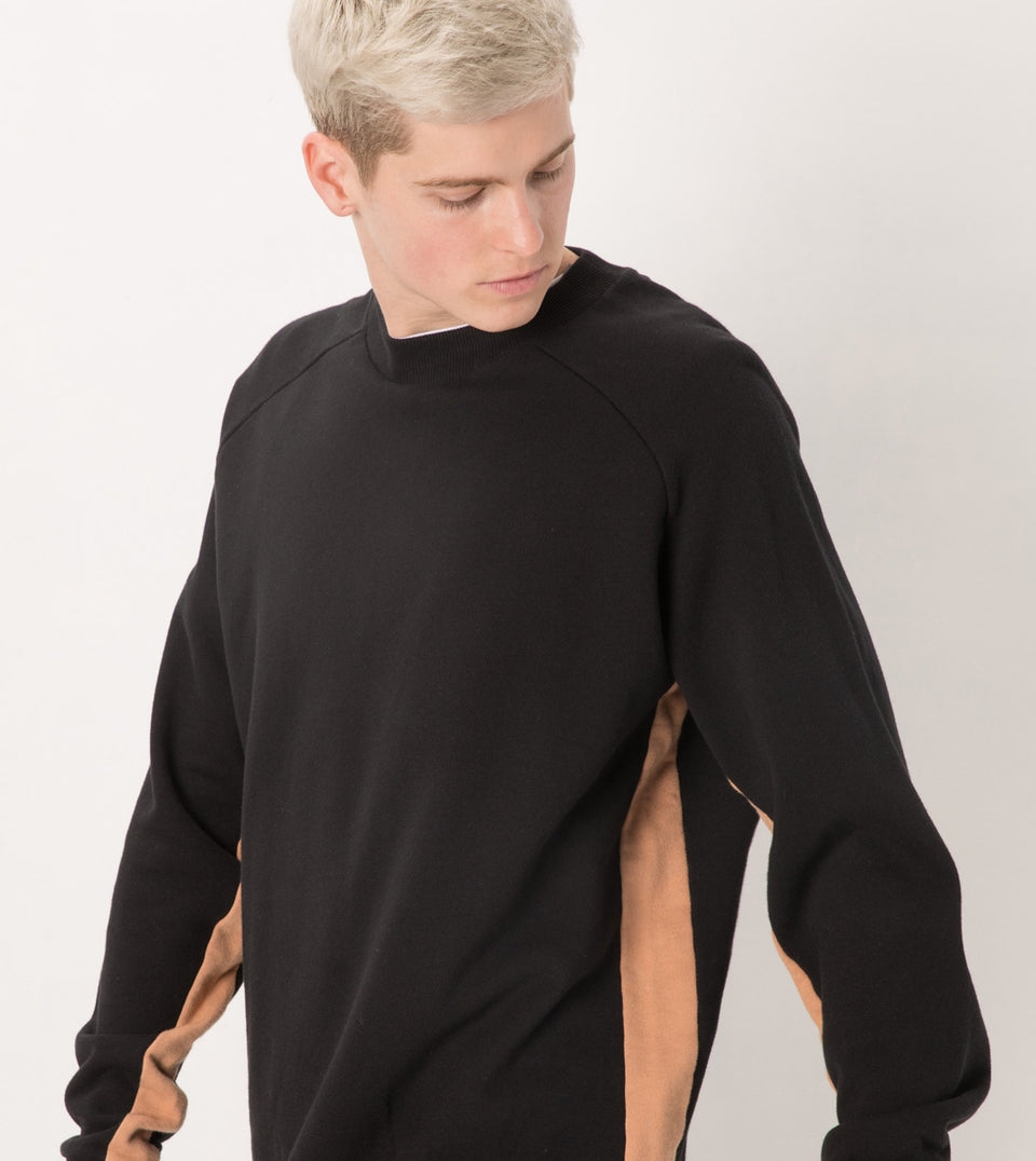 Sideline Box Crew Sweat Black/Biscuit - Sale