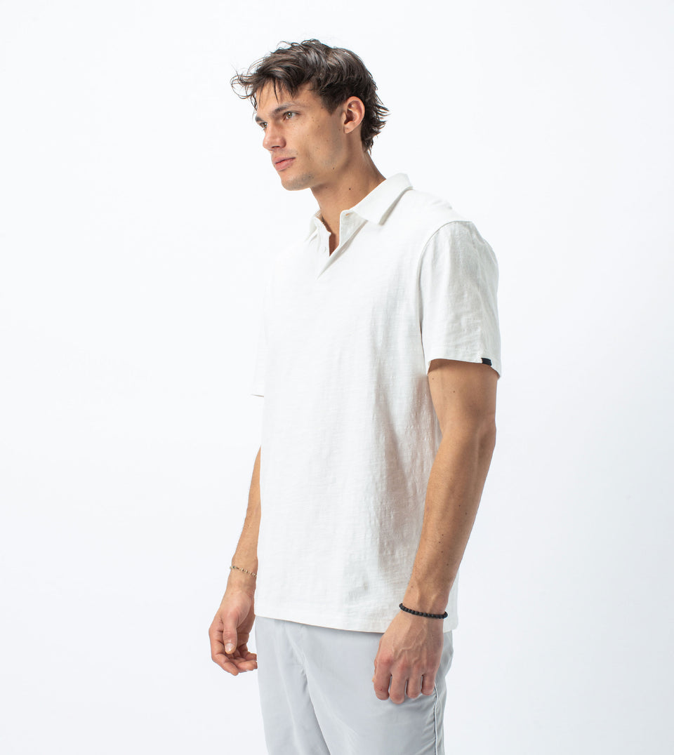 Slub SS Box Polo Milk - Sale