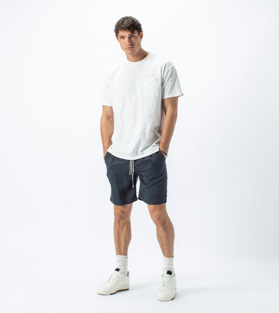 Slub Box Pocket Tee Milk - Sale