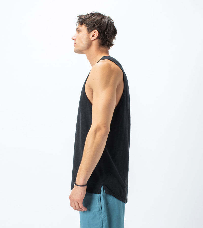 Slub Rugger Tank Smokey Black