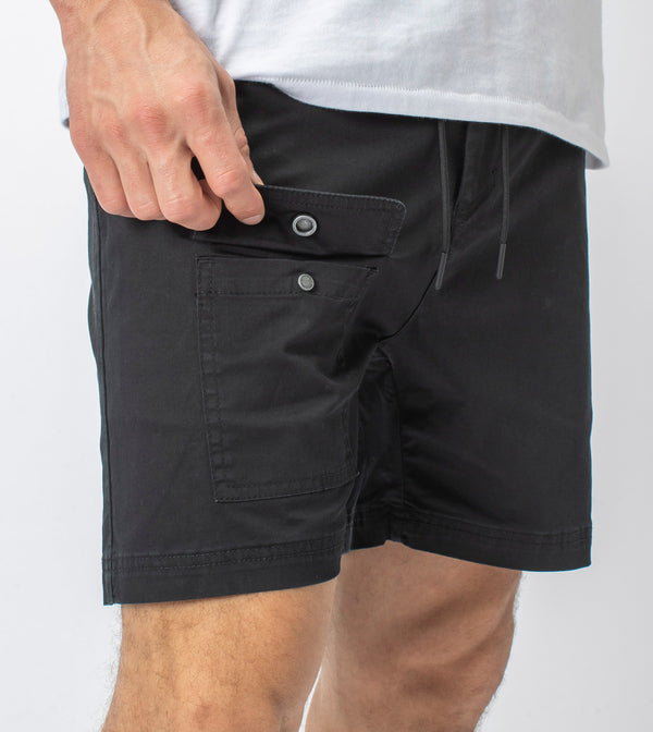 Snapshot Cargo Short Washed Black