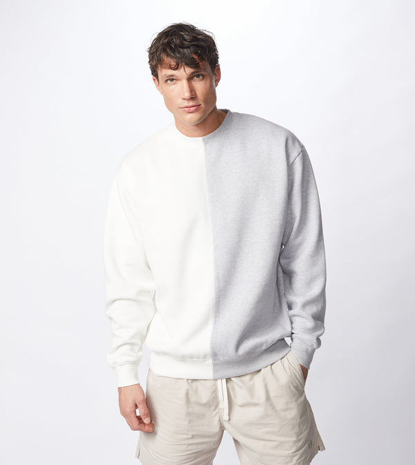 Splice Crew Sweat Milk/Silver Marle - Sale