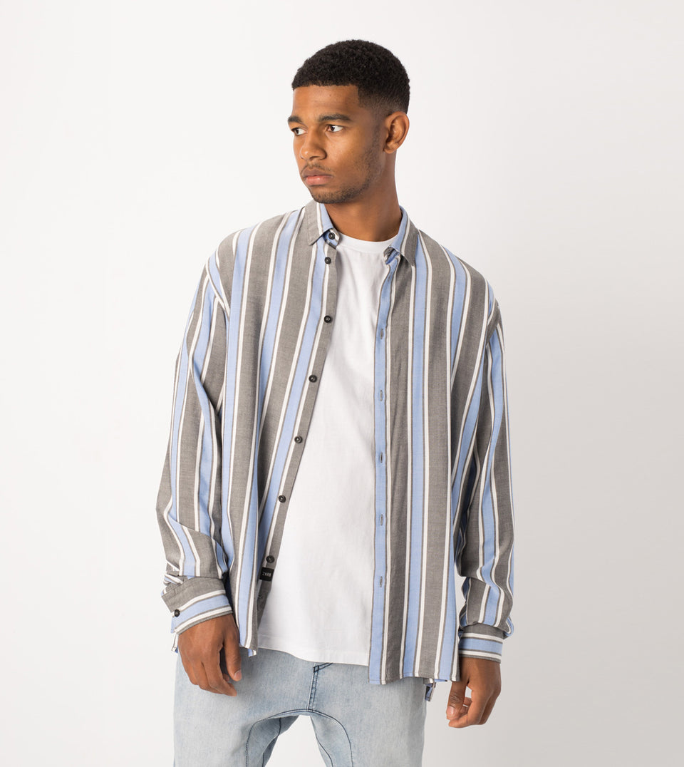 Stripe Rayon LS Shirt Black/Cobalt - Sale