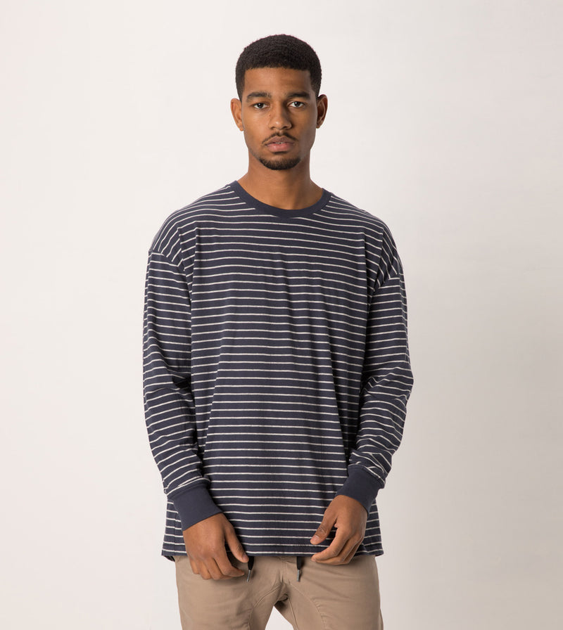 Stripe Rugger LS Tee Duke Blue/Storm Marle