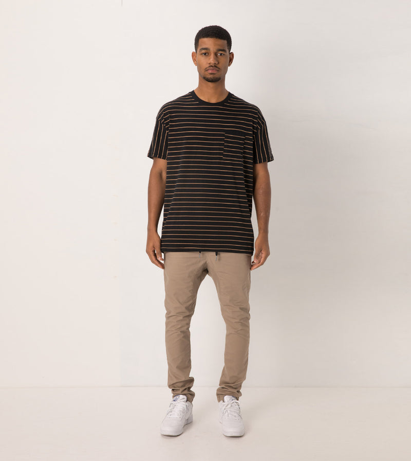 Stripe Rugger Tee Black/Biscuit