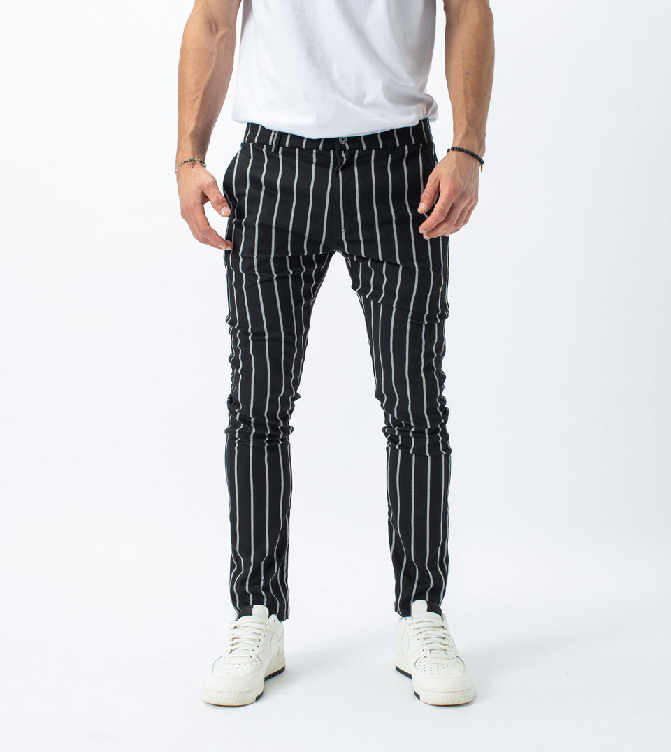 Stripe Snapshot Chino Black/Milk - Sale