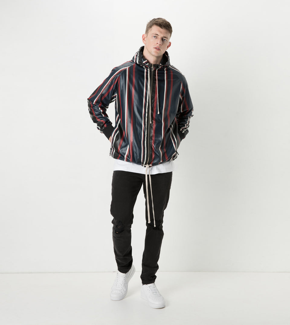 Stripe Storm Spray Jacket Ink/Dark Cherry