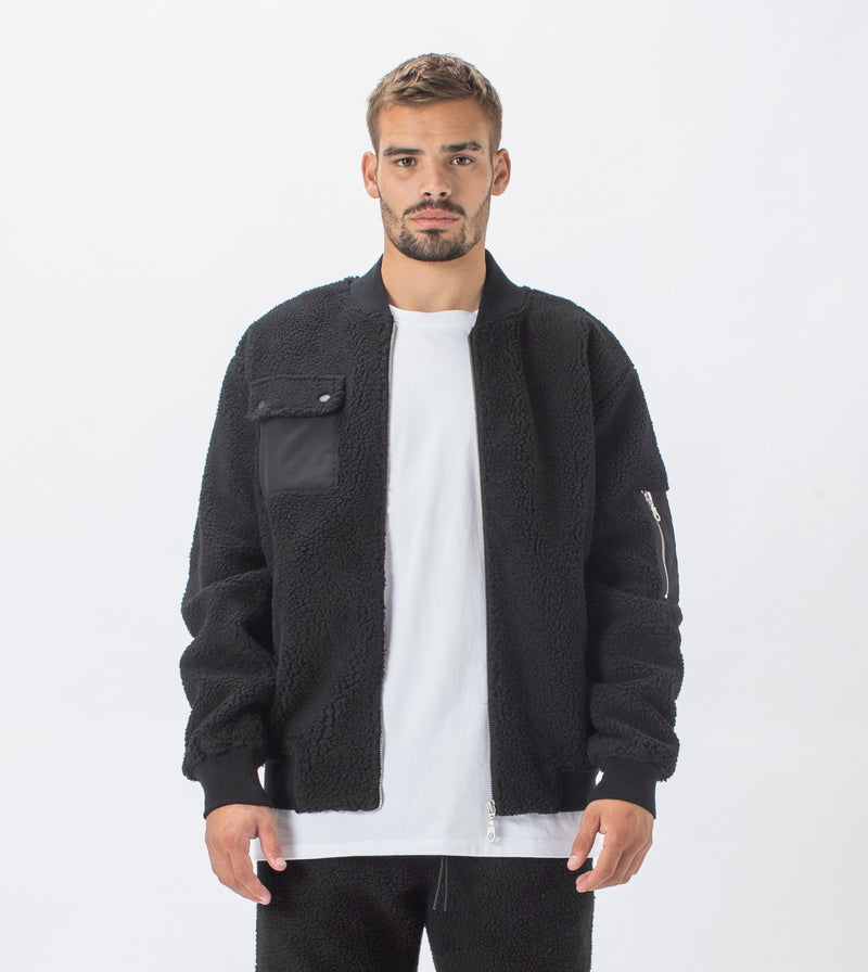 Teddy Bomber Jacket Black
