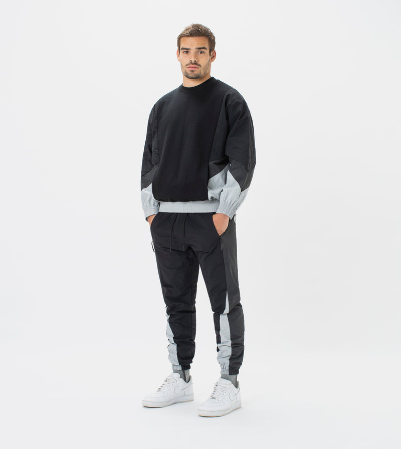 Panel Track Crew Sweat Black/Ash