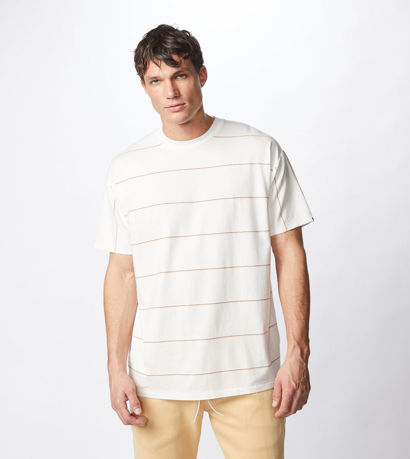 Tri-Stripe Box Tee Milk/Mango - Sale