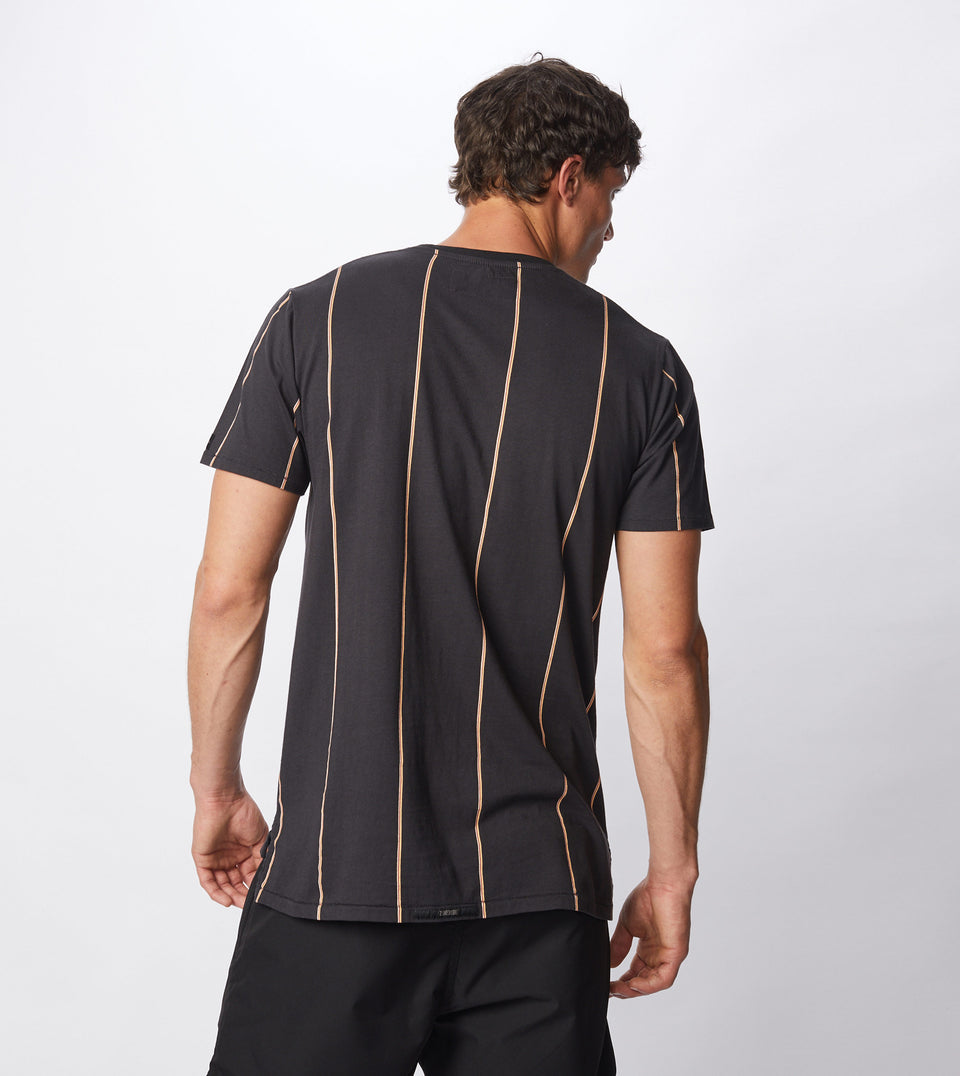 Tri-Stripe Flintlock Tee Black/Mango - Sale
