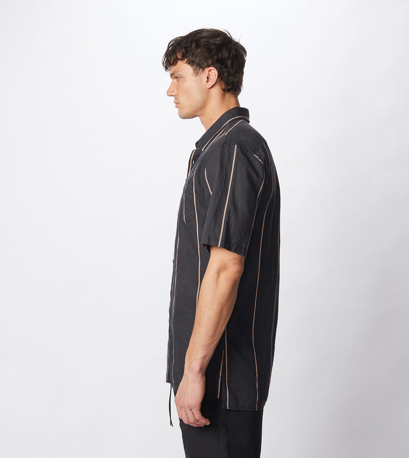 Tri-Stripe SS Shirt Black/Mango