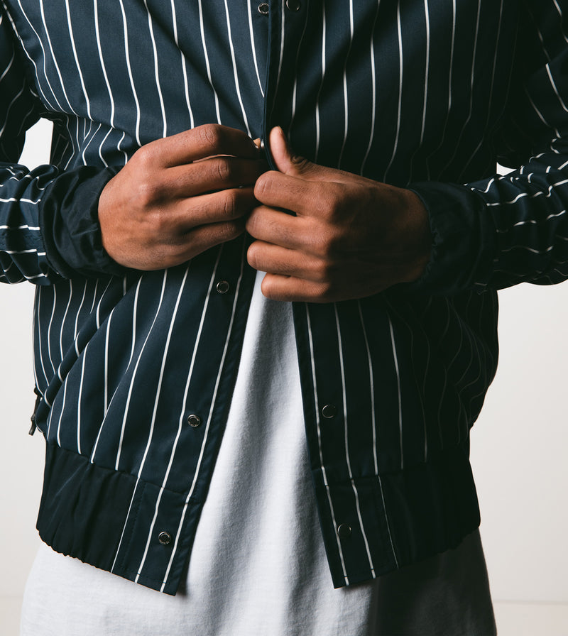 Stripe Varsity Jacket Ink/Shell - Sale