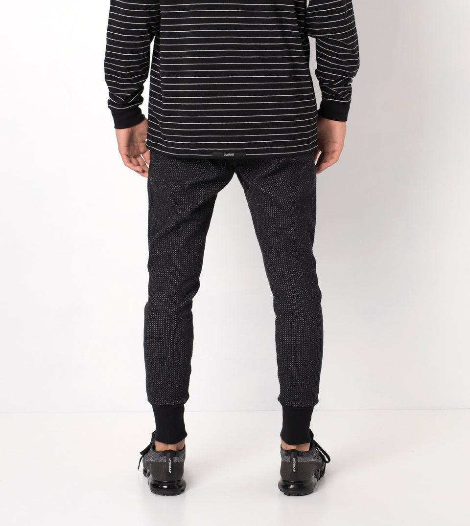 Waffle Blockshot Fleece Pant Black Spec - Sale