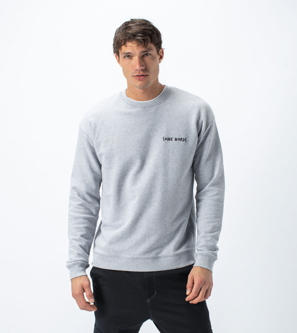 Words Rugger Crew Sweat Silver Marle