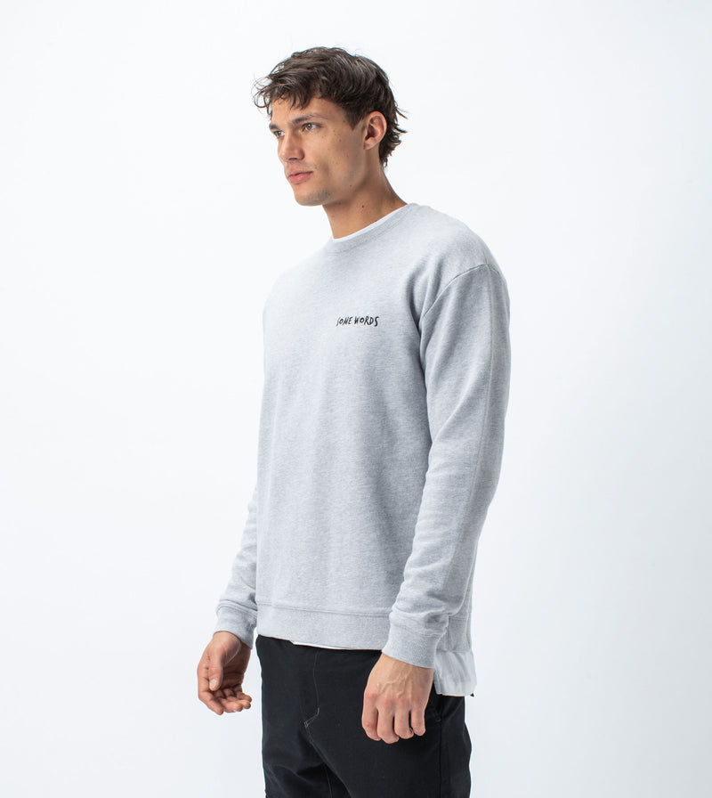 Words Rugger Crew Sweat Silver Marle - Sale