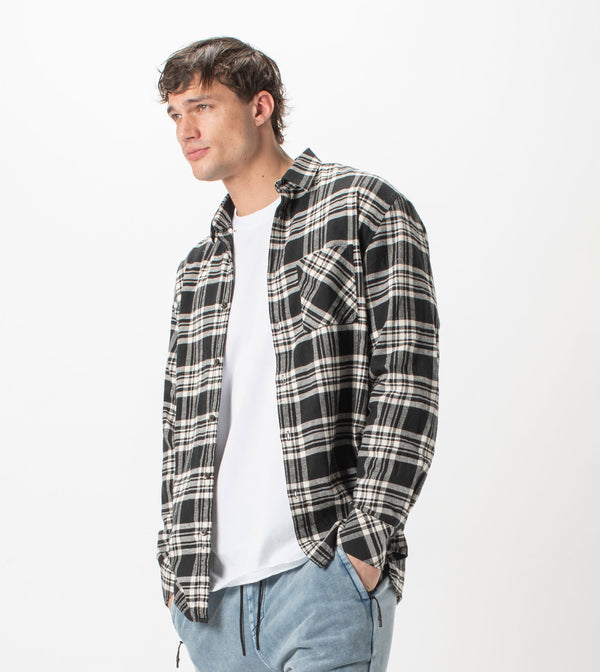 Work Flannel LS Shirt Black/Milk