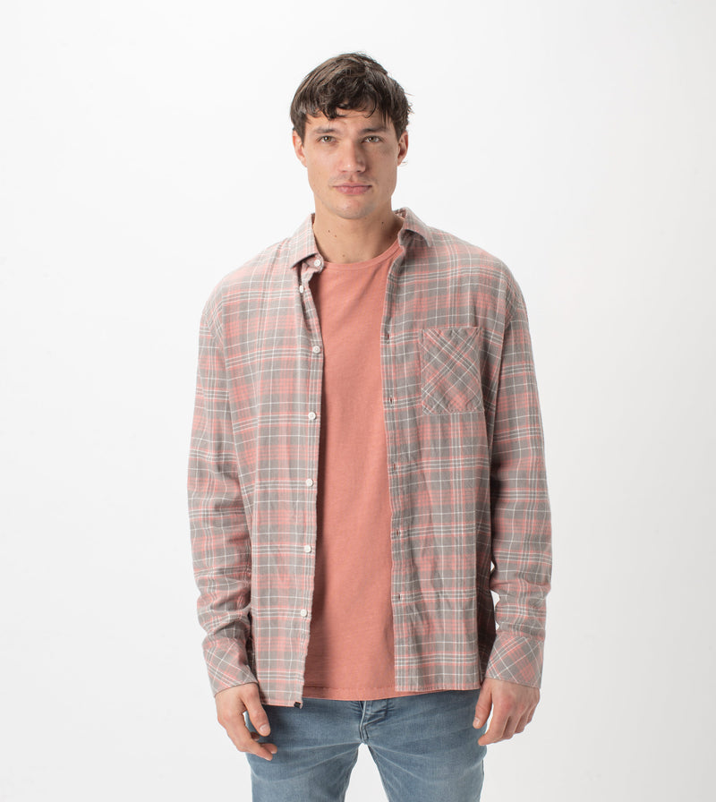 Work Flannel LS Shirt Washed Peach