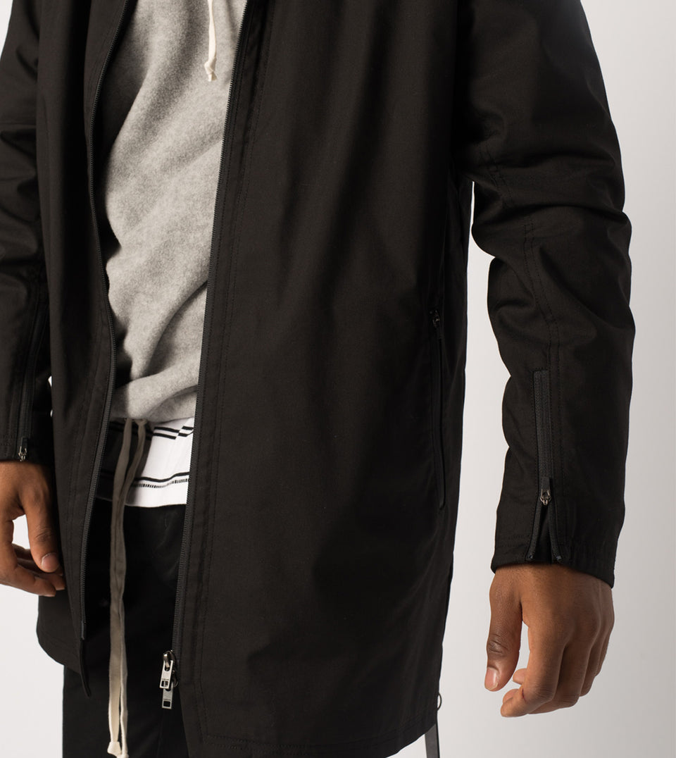 Zip Mac Coat Black