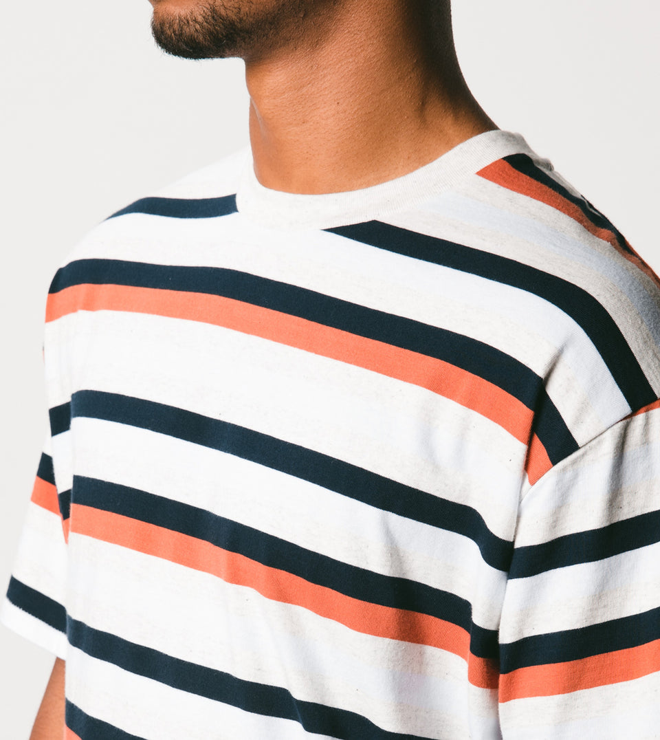 Quad-Stripe Box Tee White Marle/Clay