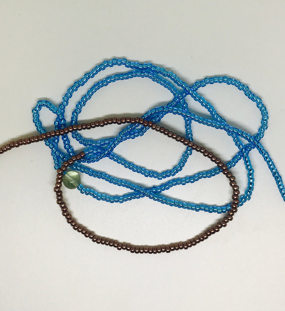 Blue and Gold waistbeads - CurrentlyEvolving Yoni Care