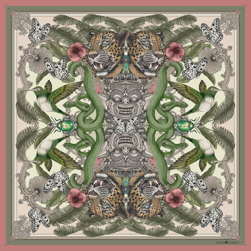 The Balinese Jungle Silk Scarf | 90x90cm - Emily Carter London