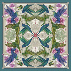 The Hummingbird Temple Silk Scarf | 90x90cm - Emily Carter London