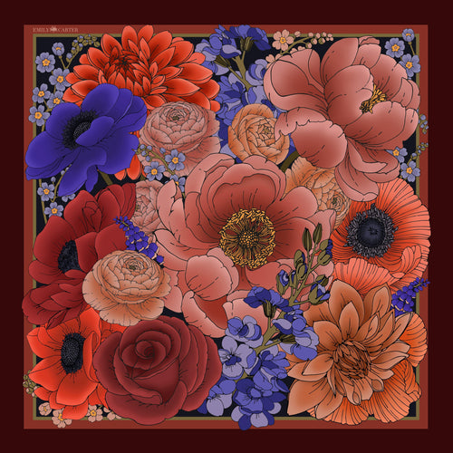 The Winter Floral Silk Scarf | 90x90cm - Emily Carter London