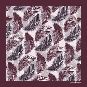 The Feather Pocket Square - Maroon | 35x35cm