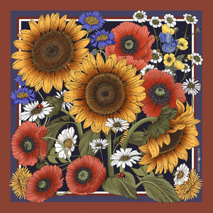 The Sunflower Garden Silk Scarf | 90x90cm - Emily Carter London