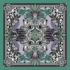 The Jewel & Jaguar Silk Scarf | 90x90cm - Emily Carter London