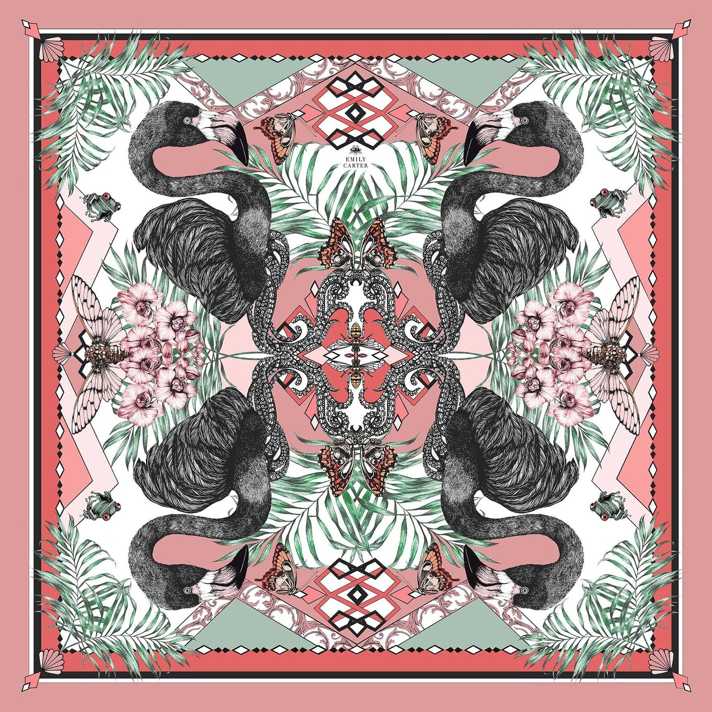 The Fuchsia & Flamingo Silk Scarf | 90x90cm - Emily Carter London