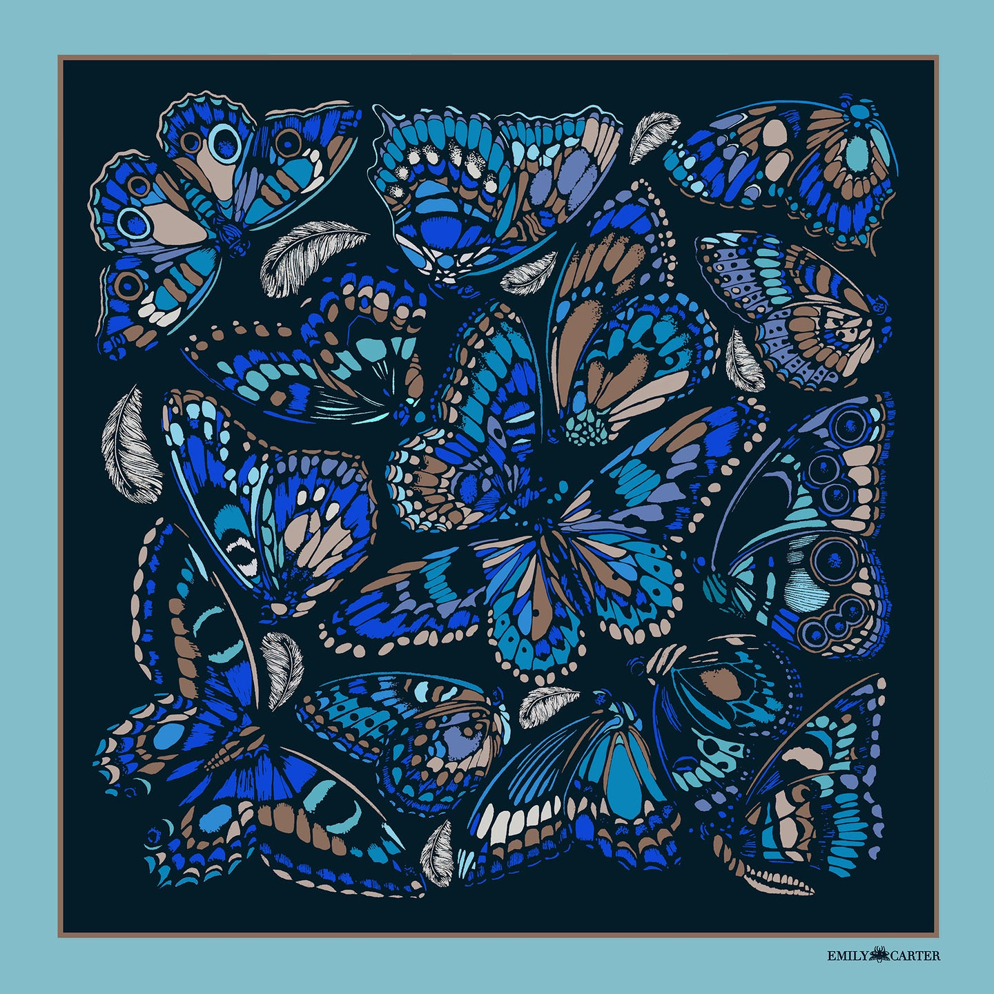 The Tropical Butterfly Silk Scarf - Cornflower | 45x45cm