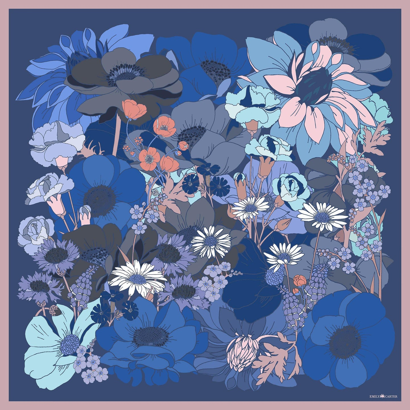 The English Garden Silk Scarf - Cornflower | 90x90cm - Emily Carter London