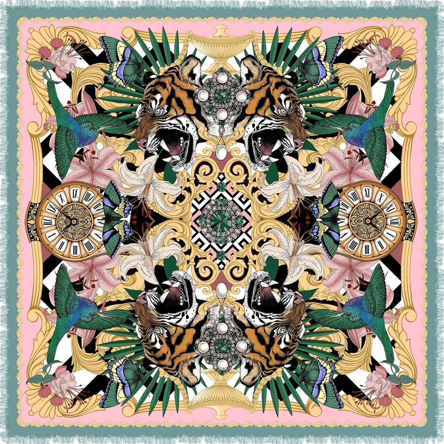 The Baroque Tiger Wool/Cashmere Scarf | 90x90cm - Emily Carter London