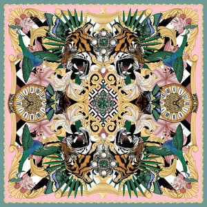 The Baroque Tiger Silk Scarf | 90x90cm - Emily Carter London