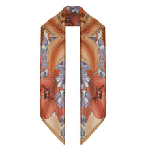The Lily Bouquet Silk Scarf - Beige | 45x45cm
