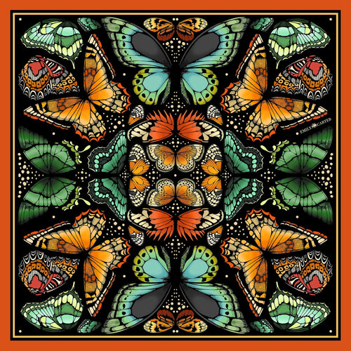 The Tropical Butterfly Silk Scarf - Burnt Orange | 90x90cm - Emily Carter London