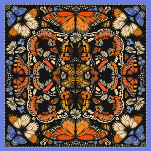 The British Butterfly Scarf - Orange | 65x65cm