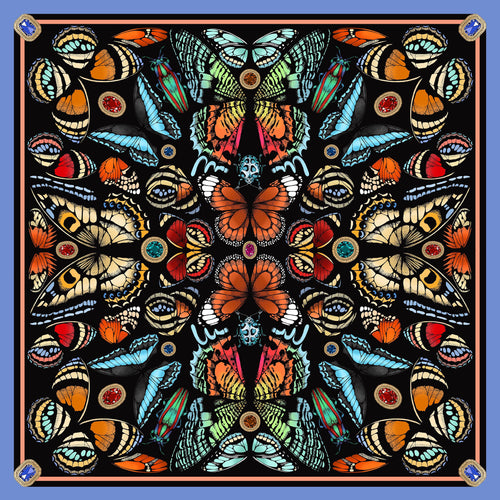The Jewelled Butterfly Silk Scarf | 90x90cm - Emily Carter London