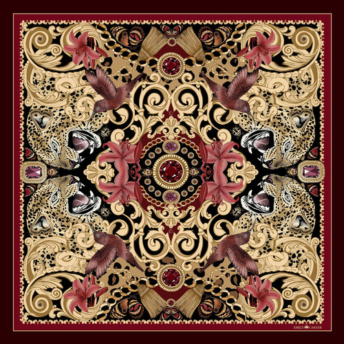 The Leopard & Ruby Silk Scarf | 90x90cm - Emily Carter London