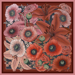 The Lily & Poppy Silk Scarf | 90x90cm - Emily Carter London